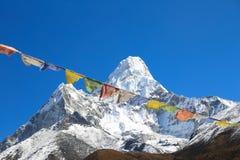 Tsang de Nangkar avec le drapeau de bouddhisme du Népal Images libres de droits