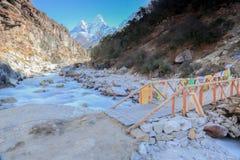 Tsang Nangkar и флаг буддизма от Непала Стоковые Изображения RF