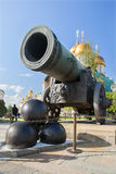 Tsar сannon and cannonballs in Moscow Kremlin Royalty Free Stock Photo