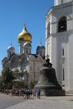 Tsar-bell and The Cathedral of the Archangel, Kremlin, Moscow stock images