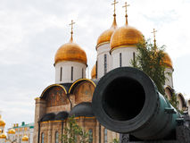 Tsar Cannon and Dormition Cathedral, Moscow Royalty Free Stock Photography