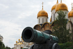 Tsar Cannon and Dormition Cathedral, Moscow Royalty Free Stock Images