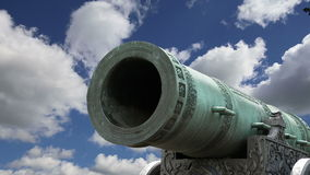 Tsar Cannon, Moscow Kremlin, Russia -- is a large, 5.94 metres 19.5 ft long cannon on display on the grounds of the Moscow Kreml. In stock footage