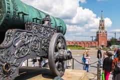 Tsar cannon Tsar Pushka on the Ivanovskaya square in the Kreml. Moscow, Russia-may 23, 2018: Tsar cannon Tsar cannon on Ivanovskaya square and view of the stock photos