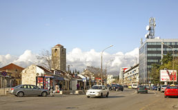 Tsar Nicholas Street i Podgorica Royaltyfri Fotografi