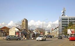 Tsar Nicholas  Street in Podgorica.   Royalty Free Stock Photography