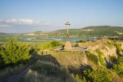 Tsarev kurgan Przyciąganie Samara region Na pogodnym letnim dniu Fotografia Stock