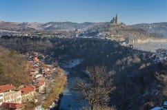 Tsarevets堡垒,保加利亚全景  免版税库存图片