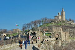 Landmark attraction in Veliko Tarnovo, Bulgaria. Tsarevets, medieval fortress and the Patriarchal Cathedral Royalty Free Stock Photo