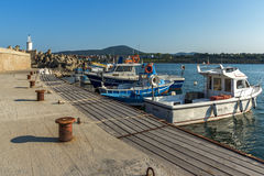 TSAREVO, BULGARIA - JULY 3, 2013:  Old boat at the port of town of Tsarevo, Bulgaria Royalty Free Stock Photography