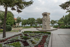 TSAREVO, BULGARIA - JUNE 28, 2013: Park with Flowers in town of Tsarevo, Bulgaria Royalty Free Stock Photography