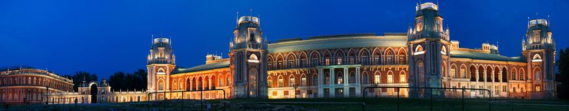 Tsaritsino宫殿在晚上。莫斯科,俄罗斯 免版税库存图片