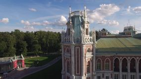 Tsaritsino palace in Moscow. Queen Ekaterina residence. Park garden architecture. Aerial view. Flight over. Aerial from above stock footage