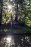 Tsaritsyno公园储备的池塘晚夏 莫斯科俄国 免版税图库摄影