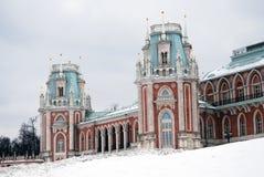 Tsaritsyno公园看法在莫斯科在冬天 大宫殿 免版税图库摄影