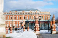 Tsaritsyno公园看法在莫斯科在冬天 图库摄影