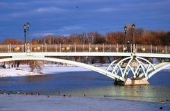 Tsaritsyno公园看法在莫斯科 在池塘的桥梁 免版税库存照片