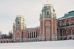 Tsaritsyno公园建筑学在莫斯科 彩色照片 免版税图库摄影