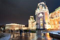 Tsaritsyno博物馆和公园储备的在圣诞节时间,游人盛大宫殿去观光 库存图片
