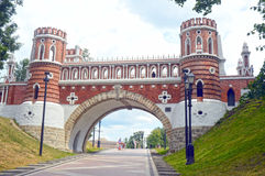 The Tsaritsyno Figured bridge 1776-1778 Architect Bazhenov. Russia Moscow Heat royalty free stock photography