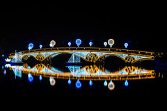 Tsaritsyno. International festival The Circle of Light. Tsaritsyno, Moscow, Russia - October 11, 2014: the international festival Circle of Light, The Cristall royalty free stock image