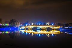Tsaritsyno. International festival The Circle of Light. Tsaritsyno, Moscow, Russia - October 11, 2014: the international festival Circle of Light, The Cristall Stock Photo