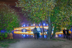 Tsaritsyno. International festival The Circle of Light. Tsaritsyno, Moscow, Russia - October 11, 2014: the international festival Circle of Light, The Cristall Stock Images