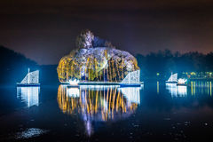 Tsaritsyno. International festival The Circle of Light. Tsaritsyno, Moscow, Russia - October 11, 2014: the international festival Circle of Light, The Island in Stock Photos