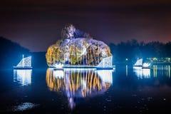 Tsaritsyno. International festival The Circle of Light. Tsaritsyno, Moscow, Russia - October 11, 2014: the international festival Circle of Light, The Island in Royalty Free Stock Photos