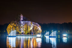 Tsaritsyno. International festival The Circle of Light. Tsaritsyno, Moscow, Russia - October 11, 2014: the international festival Circle of Light, The Island in royalty free stock image