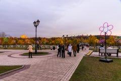 Tsaritsyno moscow Festival internacional o círculo da luz Imagem de Stock