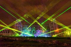 Tsaritsyno. Moscow. International festival The Circle of Light. The Tsaritsino Palace, Tsaritsino, Moscow, Russia - October 14, 2014: the international festival Stock Photography