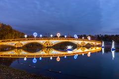 Tsaritsyno moscow Internationell festival cirkeln av ljus Arkivbilder