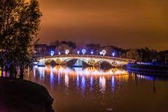 Tsaritsyno moscow Internationell festival cirkeln av ljus Arkivfoton