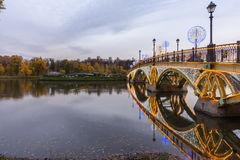 Tsaritsyno moscow Międzynarodowy festiwal okrąg światło Zdjęcia Stock