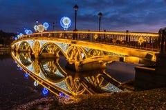 Tsaritsyno moscow Międzynarodowy festiwal okrąg światło Obraz Stock