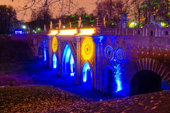 Tsaritsyno moscow Międzynarodowy festiwal okrąg światło Zdjęcia Royalty Free
