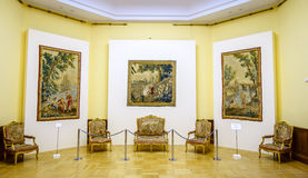 Tsaritsyno Palace. MOSCOW, RUSSIA - APRIL 10, 2015: Interior of restored Tsaritsyno Palace in Moscow. The palace was originally built for Catherine The Great Royalty Free Stock Images