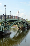 Tsaritsyno Park Bridge on the River Lights Royalty Free Stock Photos