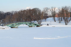 Tsaritsyno park in Winter. Winter view of the pond in Tsaritsyno park (Moscow, Russia Stock Photos