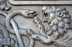 Tsarkanonkonung Cannon i MoskvaKreml, lejonhuvud Arkivfoto