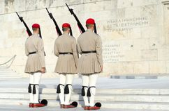 Tsolias or known as Evzones is Greeces historic presidential guard Syntagma. Stock Photography