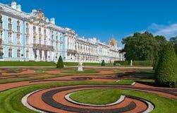 Tsarskoye Selo (普希金),圣彼德堡,俄罗斯 凯瑟琳宫殿和公园 免版税图库摄影