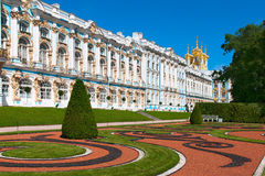 Tsarskoye Selo (普希金),圣彼德堡,俄罗斯 凯瑟琳宫殿 库存照片