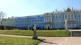 Tsarskoye Selo. The Catherine Palace. Palace in St. Petersburg, few people. Royal bath, Russia stock video