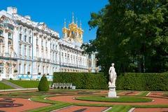 Tsarskoye Selo (Pushkin), heilige-Petersburg, Rusland Catherine Palace en het Park Stock Afbeeldingen