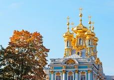 Tsarskoye Selo (Pushkin) Heilige-Petersburg Rusland Catherine Palace met Kerk van de Verrijzenis Stock Foto's