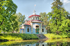 Tsarskoye Selo (Pushkin) Heilige-Petersburg, Rusland Het Knarsende (Chinese) zomer-Huis Stock Foto