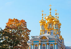 Tsarskoye Selo (Pushkin). Saint-Petersburg. Russia. The Catherine Palace with Church of the Resurrection Stock Photos