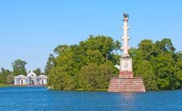 Tsarskoye Selo (Pushkin), Saint-Petersburg, Russia. The Chesme Column Stock Photos
